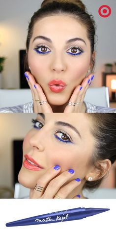"""Blue and coral are summer's """"it"""" beauty colors, and vlogger Sona Gasparian shows how to get the look in 4 easy steps. Start with Butler Please from essie for a clean, bright manicure. For eyes, line the bottom lash line and inner rim with Maybelline Master Kajal in Navy Night. Add a pop of pink to the apples of your cheeks with Maybelline Fit Me blush. Then finish the look with coral pink lip balm from L'Oreal."""