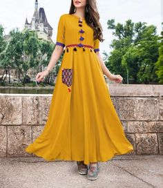 MUSTAD COLOUR AND MIX DEGINE KURTI VERY EXPENSIVE KURTI BUY ONLINE SHOPPING AT WEWILLFASHION Kurta Designs Women, Blouse Designs, Stylish Dresses, Fashion Dresses, Yellow Gown, Yellow Kurti, Punjabi Dress, Indian Gowns Dresses, Indian Designer Wear