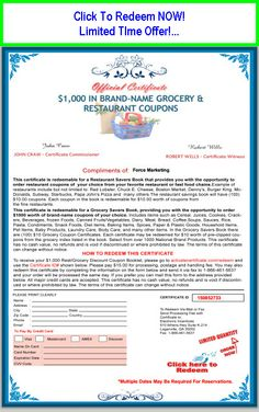 $1,000 Restaurant and Grocery Savings! Click Image Now! #coupon #free #freebies #freestuff #discount #cheap #restaurant #shopping #groceries #savings #fast food Free Certificates, Restaurant Coupons, Brand Names, Compliments, Shopping, Image, Food, Meal, Compliment Words