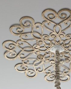 Scrolled Ceiling Medallion at Horchow. Made of tole metal. center hole for chandelier chain; eight screw holes for mounting to ceiling. Ceiling Decor, Ceiling Design, Ceiling Lights, Ceiling Ideas, Ceiling Trim, Metal Ceiling, Pink Ceiling, Ceiling Curtains, Ceiling Murals