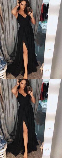 Black V-Neck Chiffon Prom Dress,Split Long Evening Dress