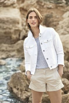Timeless, versatile and perfect for refreshing any look, our denim jacket is back by popular demand. Made from our new improved denim for an even softer finish, the jacket is comfortable to wear, and also features on-trend frayed detailing around the h The White Company, Clothes For Sale, Popular, Denim, Jackets, How To Wear, Button, Princess, Holiday