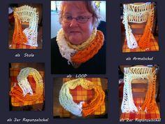 man kann ihn als  Stola ; Ärmelschal; 2 er - ,3er  Rapunzelschal oder  Loop  tragen Crochet Necklace, Jewelry, Fashion, Birds, Corning Glass, Tutorials, Breien, Moda, Jewlery