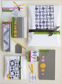 DIY Present Wrap - love the geometric shapes