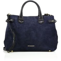 Burberry Banner Medium Suede & Leather Satchel ($1,705) ❤ liked on Polyvore featuring bags, handbags, bolsas, burberry, purses, sac, apparel & accessories, navy, burberry satchel and burberry purses