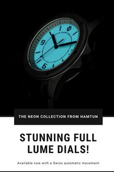If you like wearing your watch at night youll appreciate the full lume dial on the Neon Automatic collection from Hamtun Watches. One of a series of affordable automatic watches for men, the Neon collection features automatic (mechanical) Swiss movements Best Cheap Watches, Popular Watches, Best Watches For Men, Cool Watches, Affordable Automatic Watches, Best Affordable Watches, Automatic Watches For Men, Best Sports Watch, Running Watch