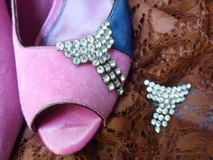 Rhinestone Crystal Shoe Clips Cuffs Pair Vintage Elegant Wedding Party Accessories Move Walk Bling Teen Woman - pinned by pin4etsy.com