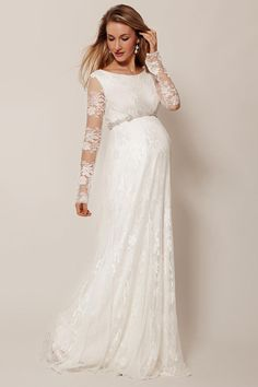 Elegantes ivory A-Linie Empire Brautkleider mit Ärmel aus Spitze Persunkleid.de