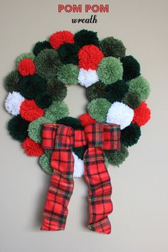 Pom Pom Wreath { Be What We Love} #christmas #diy #wreath