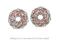 Mini IVY collection! #malaya #garnet #diamonds #gold #earclip #ivynewyork www.ivynewyork.com Garnet Earrings, Stone Earrings, Timeless Elegance, Peach Colors, Pink And Gold, Ivy, Fine Jewelry, Jewellery, Fancy