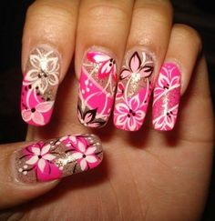 Nail design replete with various colors | Acrylic Nail Designs