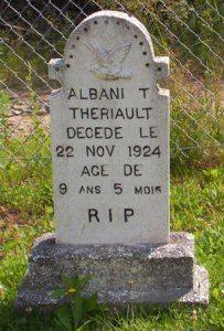 Headstone: Theriault | St Joachim Cemetery | Bertrand (Gloucester) New Brunswick Genealogy