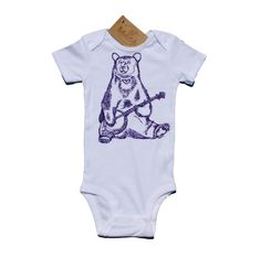 Banjo Bear Baby One Piece - Baby Boy Bodysuit - Baby Girl Bodysuit - Purple Baby Clothes - Whimsical Infant Gifts - White Layette by HeapsHandworks on Etsy https://www.etsy.com/listing/239113631/banjo-bear-baby-one-piece-baby-boy
