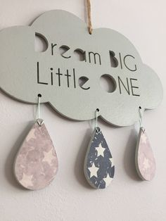 Dream Big Little One Cloud Wall hanging sign // Dream Catcher // Nursery Decor // Babies room // New Baby gift // Wall hanging // by LittleBunnyAndBear on Etsy (null)