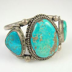 Large Old Pawn Navajo Sterling Silver -Turquoise Cuff Bracelet