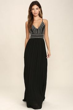 Make reservations for you and your beau, and enjoy a night out in the Glamorous Gala Black Embroidered Maxi Dress! Lightly textured woven fabric is formed to adjustable spaghetti straps (that cross at back), and a princess-seamed bodice with gold beads and embroidery. Fitted waist tops the Georgette maxi skirt with accordion pleats. Hidden back zipper/clasp.