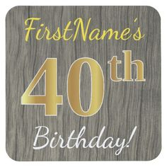 Faux Wood Faux Gold 40th Birthday  Custom Name Square Paper Coaster - gold gifts golden customize diy