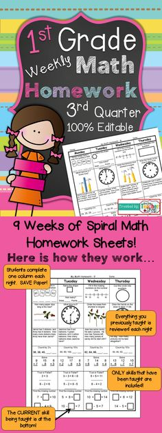 First Grade Common Core Spiral Math Homework - 3rd Quarter.  100% Editable! with answer keys! Paid