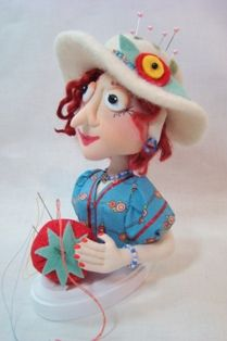 """Marigold is a Pincushion Girl from the book """"Fanciful Cloth Dolls"""" by Terese Cato"""
