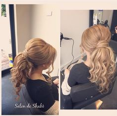 Curled pony tail upstyle