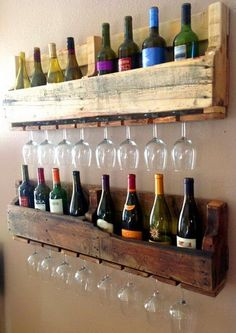 An elegant wine bottle and wine glass holding wall rack made from wood pallets