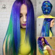 blue purple and green hair color