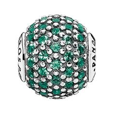PANDORA 'Essence - Prosperity' Pave Bead Charm ($65) ❤ liked on Polyvore featuring jewelry, pendants, green, pave jewelry, charm jewelry, charm pendant, beads & charms and pave charms