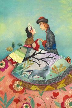 Ivan et le Loup Gris Marie Desbons, Children's Book Illustrator-Beautiful! Art And Illustration, Illustration Mignonne, Art Fantaisiste, Inspiration Art, Naive Art, Whimsical Art, Art Plastique, Bunt, Childrens Books