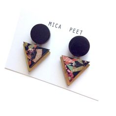 Statement Triangle & Circle Geometric Earrings / Studs - insect Patterned Laser Cut Wood Geometric Jewellery Triangle Jewellery