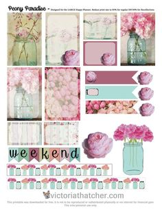 Free Printable Peony Paradise Planner Stickers from Victoria Thatcher