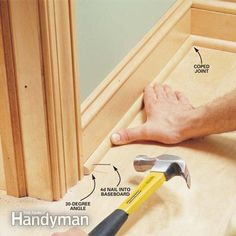 Trim Work Basics Interior trim work basics: All the trim basics, start to finish.Interior trim work basics: All the trim basics, start to finish. Do It Yourself Furniture, Do It Yourself Home, Diy Projects To Try, Home Projects, Work Basics, Trim Carpentry, Carpentry Tools, Woodworking Chisels, Woodworking Tips