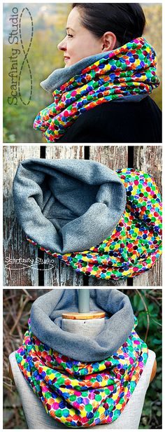 Reversible Jersey dotted Scarf, Cotton Neck Warmer, Multicolor Cowl, Chunky Tube, Colorful Dots Cosy snood. from www.ScarfnityStudio.etsy.com
