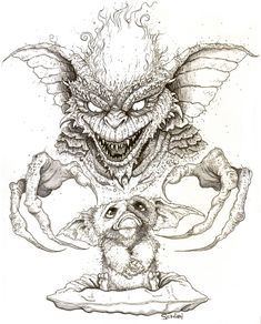 """codyschibi: """"Even though I'm completely swamped & have been avoiding bright, sunlight in the process, this week's """"Gremlins"""" Ten Ton sketch challenge was one I couldn't pass up… """" Horror Drawing, Horror Art, Horror Movies, Gremlins, Dark Fantasy Art, Dark Art, Tattoo Design Drawings, Art Drawings, Disney Coloring Pages"""