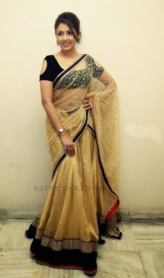 Madhu shalini in golde transparent half saree