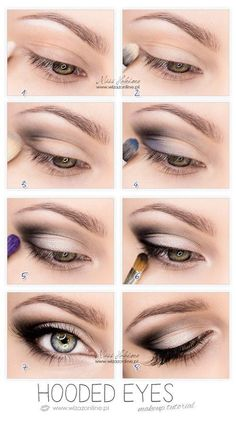 """.HOODED Hooded eyes feature an extra layer of skin that droops over the crease, causing the lid to appear smaller. """"To draw the focus upward, diffuse darker shadow over and out past the crease,"""" says Jeffrey. Tightline the top waterline to intensify and enlarge your eye shape, and thicken the lash base, which also can disappear under the lid fold."""