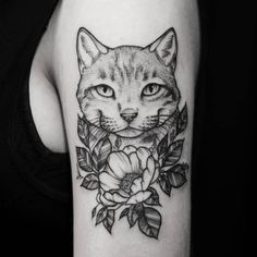 black work flower and cat tattoo idea on arm for girl Tattoos 3d, Great Tattoos, Trendy Tattoos, Flower Tattoos, Sleeve Tattoos, Black Tattoos, Girl Back Tattoos, Tattoos For Guys, Tattoos For Women