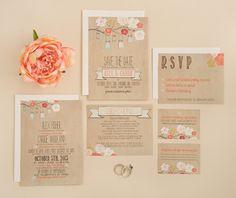Wedding Invitation Suite Set DEPOSIT  DIY  by SplashOfSilver