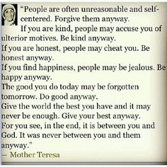 Mother Teresa was one of the most awesome people of our time.  Just keeping it real.