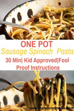 Looking for an easy fool-proof dinner? This one pan sausage pasta is super simple uses basic pantry ingredients and comes together in 30 minutes! Plus as a bonus the kids totally love this super simple one pot spinach pasta dish. Easy Pasta Dishes, Easy Pasta Recipes, Pork Recipes, Easy Dinner Recipes, Cooking Recipes, Healthy Recipes, Sausage Recipes, Drink Recipes, Delicious Recipes