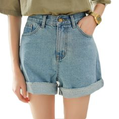 Light blue high waisted jean shorts for women summer rolled hem denim shorts ladies girls plus size casual chic shorts femme