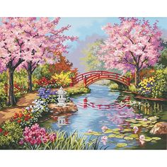 This collection features a portrayal of a peaceful Japanese garden with a variety of colorful blossoms and a bridge leading over a quiet river that you can replicate with ease if you know how to count