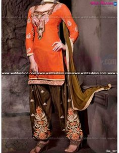 Give yourself a stylish & stunning look with this Designer Orange And Brown Punjabi Suit. Embellished with Embroidery work and lace work. Available with matching bottom & dupatta. It will make you noticable in special gathering. You can design this suit in any color combination or in any fabric. Just whatsapp us for more details.  For more details whatsapp us: +919915178418