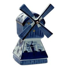 Delft Blue Holland   Delft Blue Music Playing Windmill