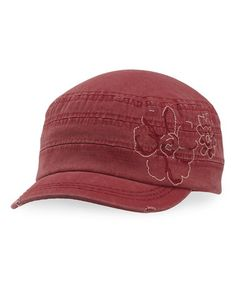 Take a look at this Fresh Cranberry Floral Cadet Cap - Women on zulily today!