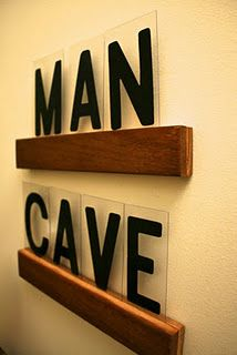 """""""man cave"""" sign - I guess you could change it when you have bible study or the women over to quilt."""