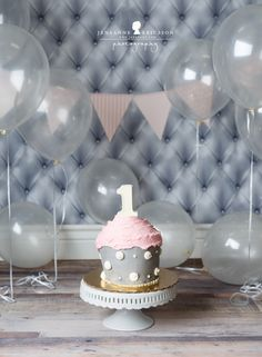 Jeneanne Ericsson Photography pink grey and white girl giant cupcake