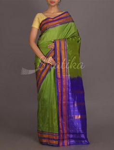 Olive Green And Ink Blue Traditional Border Pure Narayanpet Silk Saree