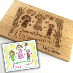 Mothers Day Gift Custom Cutting Board Childs Art Work Scribble Drawing Custom Wood Gifts for Mom Personalized Cutting Board Laser Engraved Laser Cutter Ideas, Laser Cutter Projects, Cadeau Parents, Gravure Laser, Laser Engraved Gifts, Personalized Mother's Day Gifts, Personalised Diary, Custom Gifts, 3d Cnc