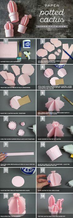3D Potted Paper Cactus, Paper Cactus Template, Paper Cactus DIY, Paper Cactus Crafts, Paper Cactus Flower, Paper Cactus Decoration