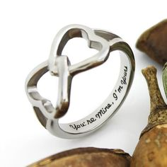 """Double Hearts Infinity Ring Promise Ring Wedding Ring """"You're Mine I'm"""